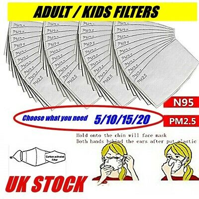 Adult Kids Children Face Mask PM2.5 Activated Carbon Replacement Filter Insert