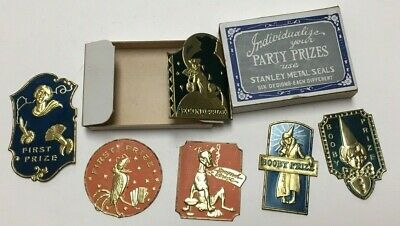 RARE ca 1926 STANLEY METAL SEALS PARTY PRIZE LABELS 1st 2nd BOOBY PRIZE & BOX