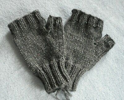 Fingerless Hand Knit Mittens Gloves Handwarmers  Dark Gray with Silver  NEW!