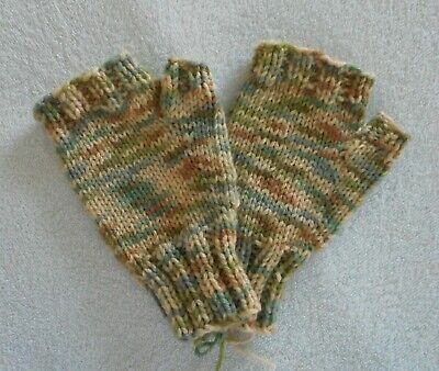 Fingerless Hand Knit Mittens Gloves Handwarmers  Tan Multi Color  NEW!