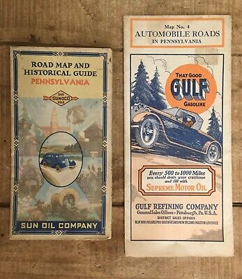 Early Vintage Lot Of 2 GULF SUNOCO Gas & Motor Oil Pennsylvania Road Map Guide