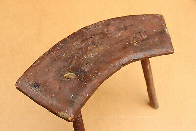 Old Antique Primitive Wooden Wood Chair Three Legged Milking Stool Early 20th.