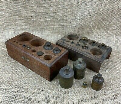 Antique Lot of Brass Scale Weights with Incomplete Box Sets