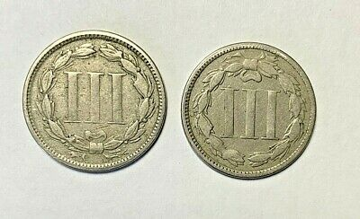 1865 AND 1868 3 Cent Nickel.  Two Early  Coins!  Free First Class Shipping