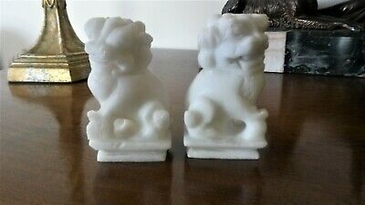 A Pair of Handcarved Antique Chinese White Soapstone Guardian Lion Foo Dogs