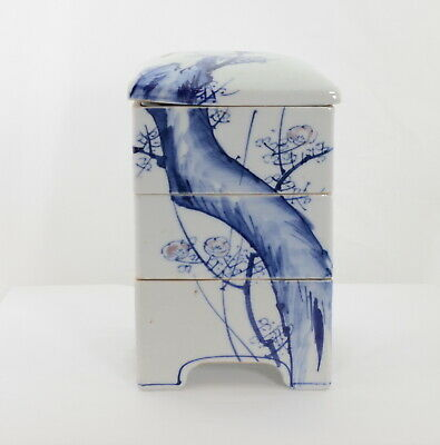 Japanese Jubako Bento Porcelain Box Three Stack White Blue Tree Pink Floral Lid