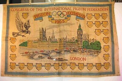 1965 PIGEON OLYMPIADS Banner CONGRESS OF THE INTERNATIONAL PIGEON FEDERATION
