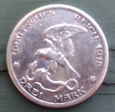 1913 Germany-Prussia 900 Silver 3 Mark 100 Year Defeat of napoleon coin