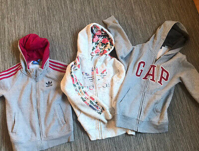 Girls Grey Adidas Zip-up Hoodies. Age 8-9 Years