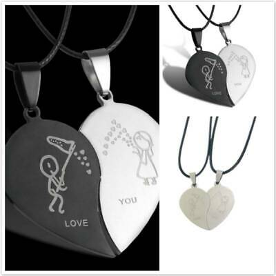 Creative Stainless Steel Love Heart Shape Pendant Lover Couple Necklace Jewelry