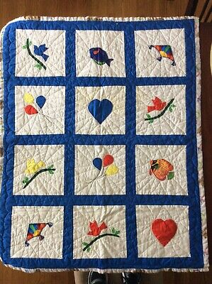 Quilted Baby Blanket Homemade 45 X 36 Assorted Colors