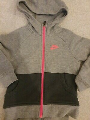 Girls Nike Joggers And Hoodie Tracksuit Grey And Pink Age 6-7 116-122cm