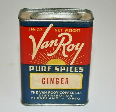 Vintage Spice Tin-VAN ROY, GINGER, THE VAN ROOY COFFEE CO, CLEVELAND, OH,Tin 3'T
