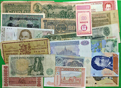 Lot of 19 Different Old World Foreign Banknotes Finland British Germany More !!