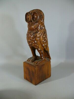 Southern US Virginia Folk Art Carved Wood OWL Bird Statue Figurine