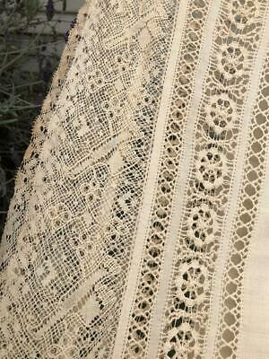"""Antique Beige/Ivory French Bobbin Lace Banquet Size Tablecloth ~RARE~ 102 X 66"""""""