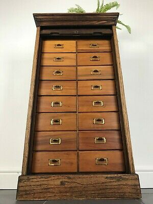 Lebus cabinet haberdashery Drawers antique tambour door.