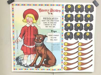"""Vintage OUTCAULT BUSTER BROWN Paper POSTER NECK TIE PIN-UP GAME - 25""""x21"""" Repro"""