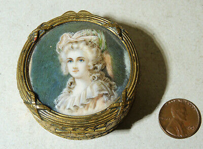 Antique French PATCH BOX Marie Antoinette Hand Painted Portrait Jewelry Trinket