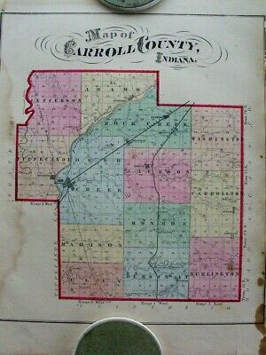 1874 Antique Map Carroll County Delphi Indiana IN from Baskin Atlas Erie Canal