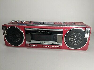 National RX-FM30 FM-AM Stereo Radio Cassette Vintage Red Boombox Ghetto Blaster