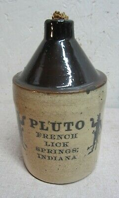 C 1900 Qt French Lick Ind Pluto water stoneware jug Devil mineral water
