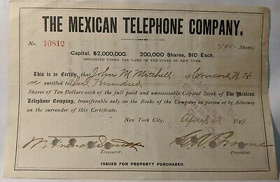 The Mexican Telephone Co 1899 100 shares of stock