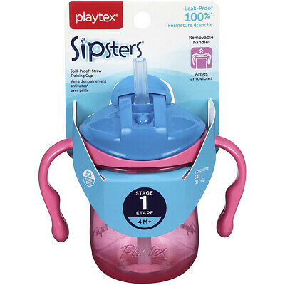 Playtex Baby Sipsters Spill-Proof Straw Training Cup with Removable Handles, Sta