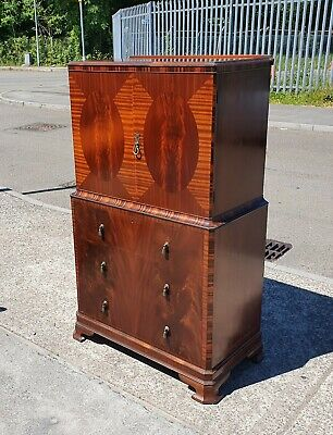 Art Deco Flame Mahogany Inlaid Tallboy    Delivery Available