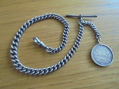 big antique solid sterling pocket watch chain and fob