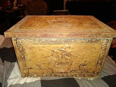 19th Century Embossed Copper Coal Kindling Box Chest C 1870?