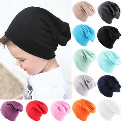 Cotton Knitted Soft Solid Color Winter Warm Beanies Kids Slouchy Hat Baby Caps
