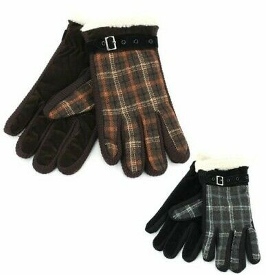 Suede Gloves Check Winter Warm Fleece Lining Belt Shearling New