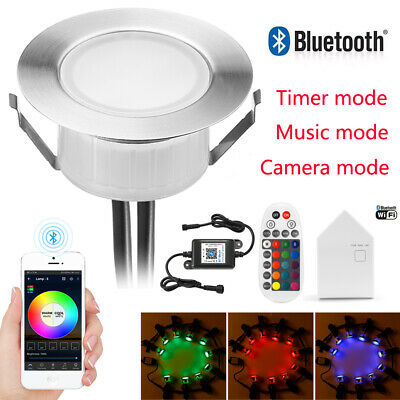 Φ61mm RGB//RGBW Bluetooth Controller LED Deck Lights Garden Lighting Outdoor Lamp