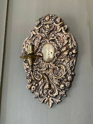 Fine 18th 19th Century Georgian Baroque cast and chased brass candle wall sconce