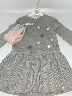 Grey bobble Girls Dress with tights - Age 12-18months George Asda New No Tags