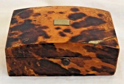 Antique 18th Century Faux Tortoise Shell Miniature Wooden Trinket Box