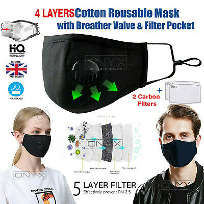 Reusable PM2.5 Activated Carbon Filter Breathing Face Nose FABRIC MASK Anti-Dust