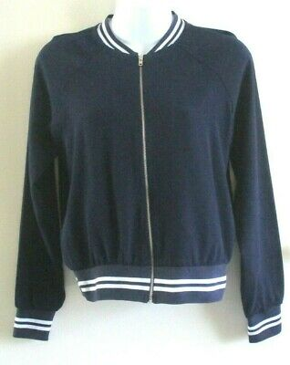 Candy Coture Size 12 Years Girls Navy & White Zip Front Bomber Style Jacket