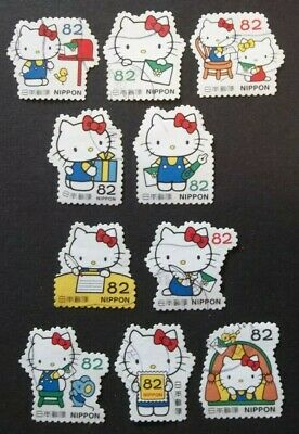 JAPAN USED 2018 HELLO KITTY 82 yen 10 VALUE VF COMPLETE SET SC# 4207 a - j