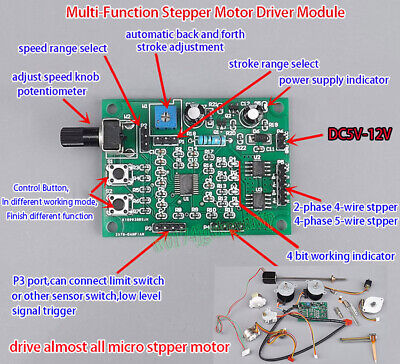 DC 5V-12V 2-phase 4-wire Micro MINI Stepper Motor Driver Speed Controller Module