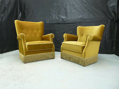 EB633 Pair of Carved Oak High & Low Backed Lounge Chairs Vintage Danish Retro