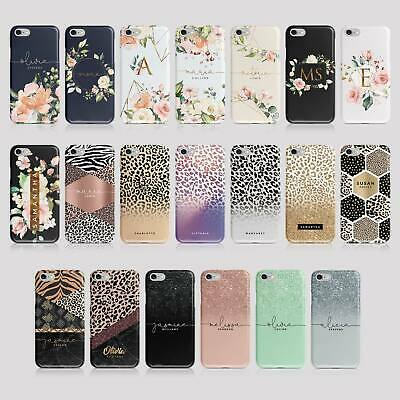 Personalised Initials iPhone Samsung Hard Phone Case Animal Print Ombre Floral