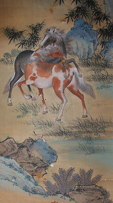 Antique Chinese Painting of Wild Horses