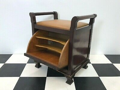Antique edwardian mahogany piano stool with fall front music sheet file storage
