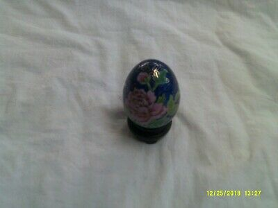 Colbalt Blue Cloisonne Egg with Peony Flowers with wood base