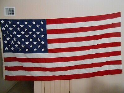 Vintage Large Us American 50 Star Flag 9Ft X 5Ft. Cotton Flagsource Internment