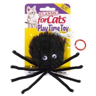 Classic Cat Kitten Toy Black Furry Fun Catnip Spider with Elasticated Cord
