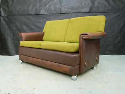 EB640 Skippers Brown Leather & Wool Two-Seater Sofa Danish Vintage Retro Settee