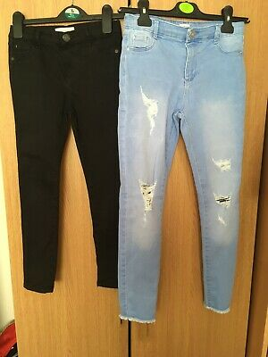 River Island Girls Molly Jeans Aged 9 Years X 2 Black And Light Blue Ripped